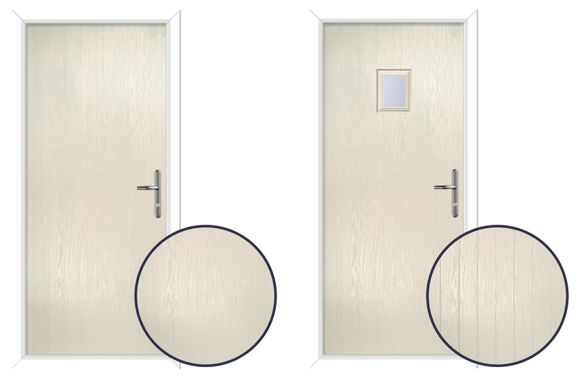 Composite Door In Cream Smooth FLush Grain Cottage grained effect